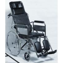 Wózek toaletowy z podparciem głowy i odchylanym tylnym oparciem